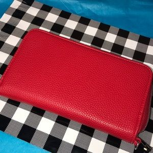 Cherry Red faux leather wallet clutch NEW 🎄🍒